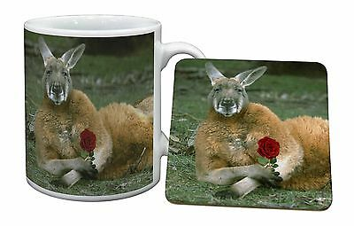 Kangaroo with Red Rose Mug+Coaster Christmas/Birthday Gift Idea, AK-1RMC