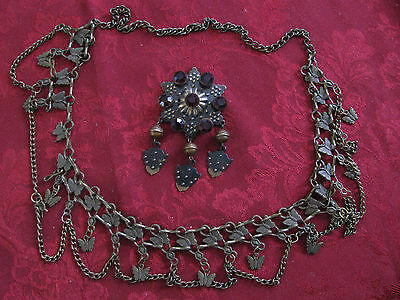 Vtg Old  Bronze Folk Brooch With Gemstones , Necklace  Circa 19 Century  Rare !!