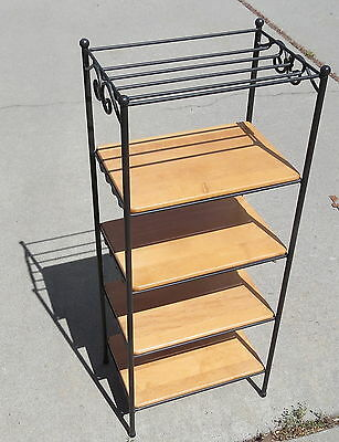 Longaberger Wrought Iron 5-Tier Basket Stand Rack with 4 Shelves - Made in USA