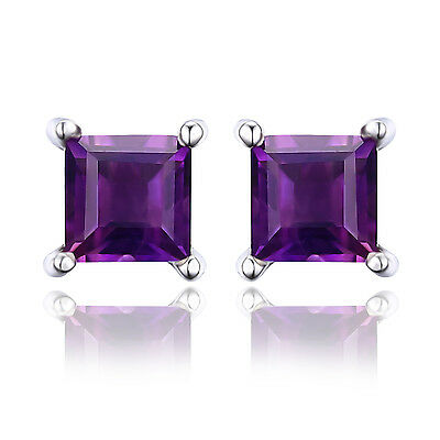 JewelryPalace Square Genuine Amethyst Earrings Stud Solid 925 Sterling Silver