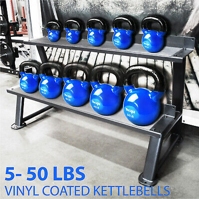 Yes4All 5 - 45 lb Kettlebell Weights - Vinyl Coated Cast Iron Kettlebell