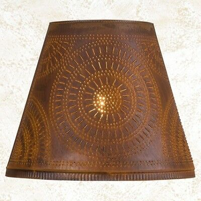 """primitive new 14 """" RUSTY TIN punched chisel lamp shade / nice"""