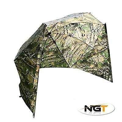 """50"""" Camo Storm Fishing Brolly With Sides With Wire Peg"""