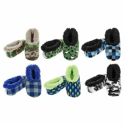 Snoozies Boys Fleece Lines Slippers Various Patterns Non Slip