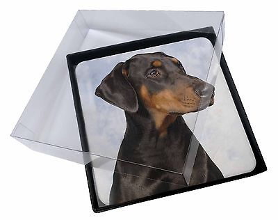4x Doberman Pinscher Dog Picture Table Coasters Set in Gift Box, AD-DM1C