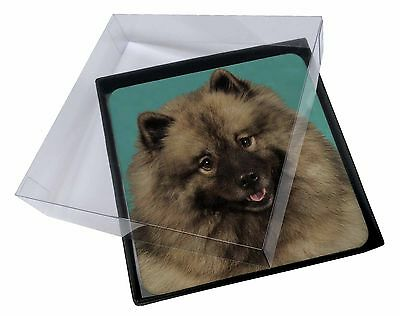 4x Keeshond Dog Picture Table Coasters Set in Gift Box, AD-KEE1C