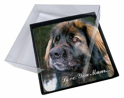 4x Black Leonberger 'Love You Mum' Picture Table Coasters Set in Gif, AD-L56lymC