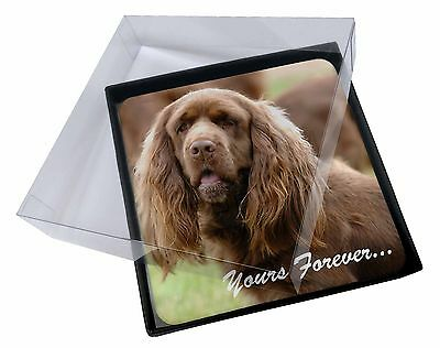 4x Sussex Spaniel 'Yours Forever' Picture Table Coasters Set in Gift , AD-SUS1yC
