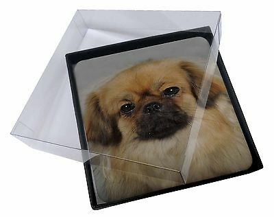 4x Tibetan Spaniel Dog Picture Table Coasters Set in Gift Box, AD-TS2C