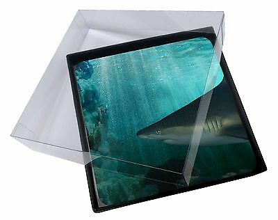 4x Shark Photo Picture Table Coasters Set in Gift Box, AF-SHA1C