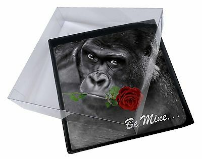 4x 'Be Mine' Gorilla with Red Rose Picture Table Coasters Set in Gift B, AM-10RC