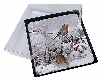 4x Snow Mouse and Robin Print Picture Table Coasters Set in Gift Box, AMO-5C