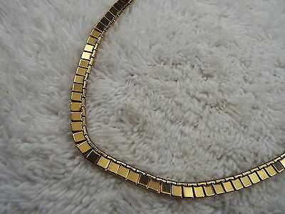Goldtone Flat Square Link Chain Necklace (C11)