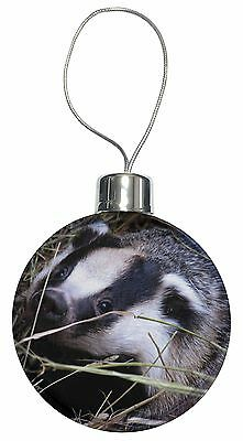 Badger in Straw Christmas Tree Bauble Decoration Gift, ABA-1CB