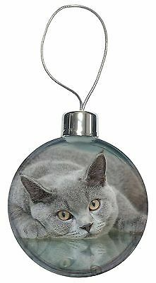 British Blue Cat Laying on Glass Christmas Tree Bauble Decoration Gift, AC-11CB