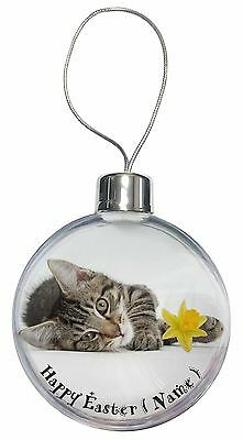 Tabby Cat Personalised Name Christmas Tree Bauble Decoration Gift, AC-204DA2CB