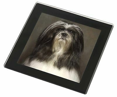 Lhasa Apso Dog Black Rim Glass Coaster Animal Breed Gift, AD-LAP1GC