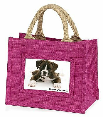 Boxer Dog 'Yours Forever' Little Girls Small Pink Shopping Bag Christ, AD-B51BMP