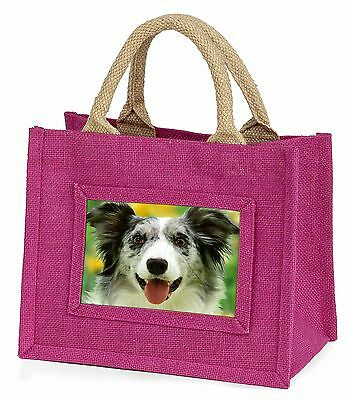 Blue Merle Border Collie Little Girls Small Pink Shopping Bag Christ, AD-BC10BMP