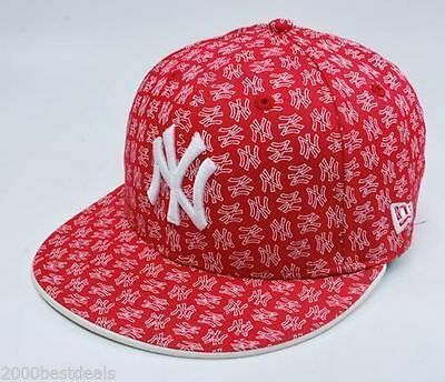 New Era Cap Fitted 59Fifty MLB New York Yankees Print Red White Custom 5950 Hat