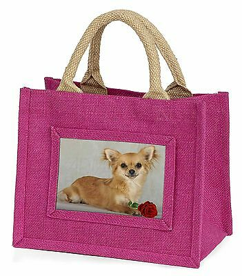 Chihuahua with Red Rose Little Girls Small Pink Shopping Bag Christm, AD-CH6RBMP