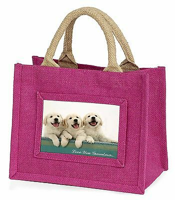 Golden Retrievers 'Love You Grandma' Little Girls Small Pink Shop, AD-GR56lygBMP