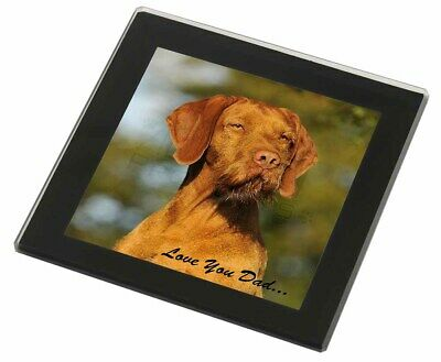 Wirehaired Vizsla 'Love You Dad' Black Rim Glass Coaster Animal Breed , DAD-57GC