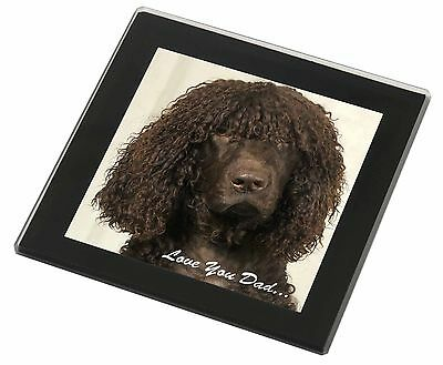 Irish Water Spaniel 'Love You Dad' Black Rim Glass Coaster Animal Bree, DAD-59GC