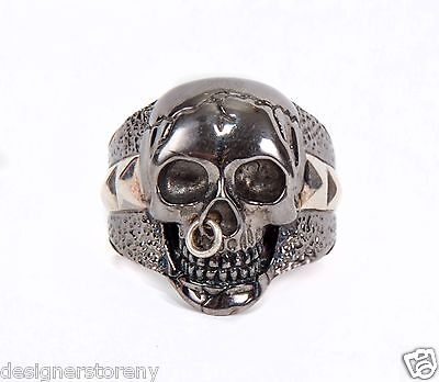 Stephen Webster Sterling Silver Black Rhodium shank skull nose stud ring size 10