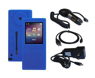 Black Car Home Charger USB Cable + N. Blue Soft Skin Case for Sony NW E393 E394