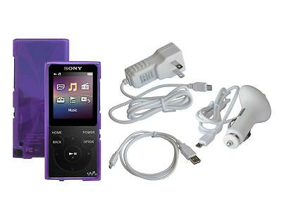 Purple TPU Cover Case + Cable + White Car Home Charger for Sony NW-E390 NW-E393