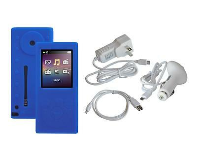 N. Blue Soft Skin Case + White Car Home Charger Cable for Sony NW-E390 NW-E393