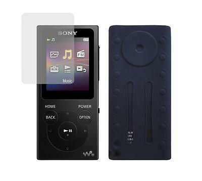 Screen Protector + Black Soft Skin Case for Sony Walkman NW-E393 NW-E394
