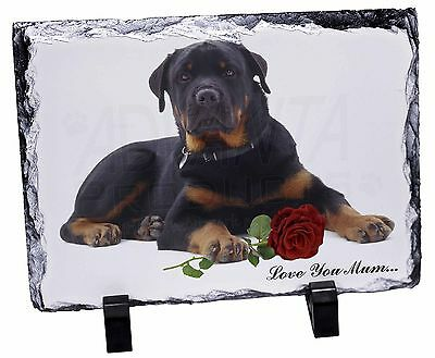 Rottweiler+Rose 'Love You Mum' Photo Slate Christmas Gift Ornament, AD-RW3RlymSL