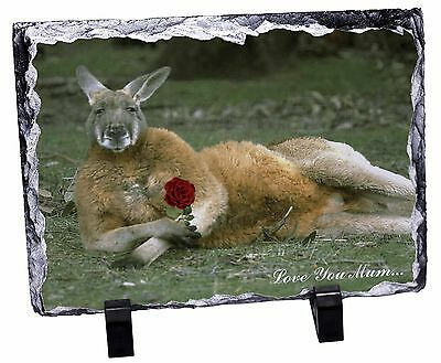Kangaroo+Rose 'Love You Mum' Photo Slate Christmas Gift Ornament, AK-1RlymSL