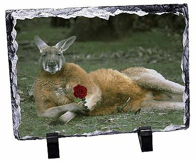 Kangaroo with Red Rose Photo Slate Christmas Gift Ornament, AK-1RSL