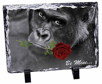 'Be Mine' Gorilla with Red Rose Photo Slate Christmas Gift Ornament, AM-10RSL