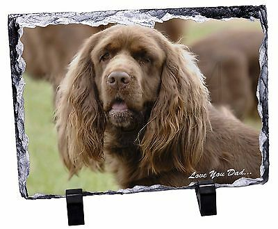 Sussex Spaniel 'Love You Dad' Photo Slate Christmas Gift Ornament, DAD-122SL