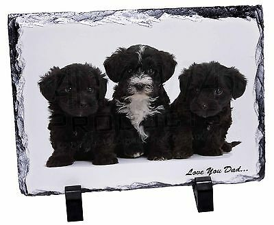 Yorkipoo Pups 'Love You Dad' Photo Slate Christmas Gift Ornament, DAD-139SL