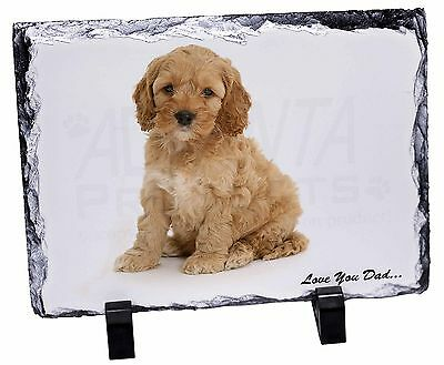 Cockerpoodle 'Love You Dad' Photo Slate Christmas Gift Ornament, DAD-19SL