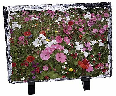 Poppies and Wild Flowers Photo Slate Christmas Gift Ornament, FL-10SL