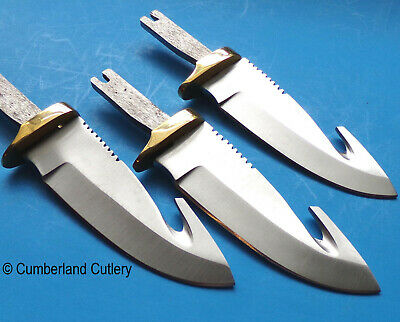 Lot of 3  Stainless Steel Guthook Knife Making Blade Blanks Hunting  Skinning
