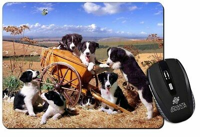 Border Collie in Wheelbarrow Computer Mouse Mat Christmas Gift Idea, AD-BC3M