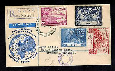 1949 Fiji First Day Cover FDC UPU Set Issue to England
