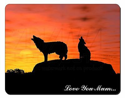 Sunset Wolves 'Love You Mum' Computer Mouse Mat Christmas Gift Idea, AW-5lymM