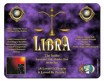 Libra Star Sign of the Zodiac Computer Mouse Mat Christmas Gift Idea, ZOD-7M