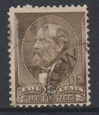 USA - 1882, 5c Brown stamp - Used - SG 211 or 211a