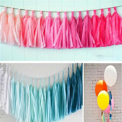 5 Colorful Tissue Garlands Bunting Ballroom Paper Tassels Wedding Party Decor