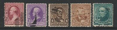 USA - 1890, Part set of 5 stamps - Used - SG 225, 226/8, 231