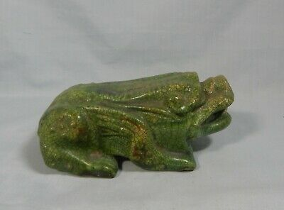 Vintage hand carved old stone ancient animal on display wood stand circa 1930s